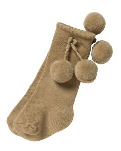 Aurora Royal Camel  Knee Length  Pom-Pom Cotton Socks