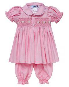 "Aurora Royal "" Aster "" Pink Hand-Smocked Traditional Pyjamas Set. LIMITED"