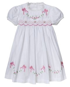 "Aurora Royal White "" Ornella "" Hand-Smocked, Embroidered Dress"