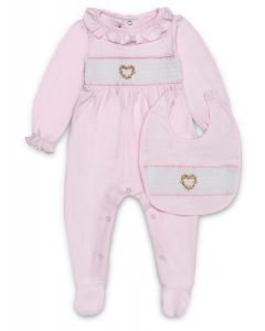 "Aurora Royal ""Sweet Heart"" Pink Smocked Babygrow & Bib"