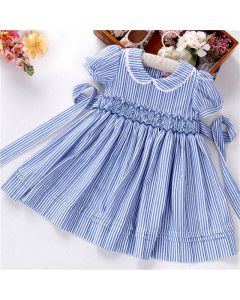 "Aurora Royal Girls Striped ""Erin"" Hand-Smocked Cotton Dress"