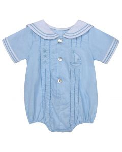 Aurora Royal Baby Blue Nautical Sailor Romper.
