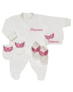 "Aurora Royal Baby Girls "" Angel Wings "" Babygrow, Hat, Mittens & Shoes Gift Set. Handmade. LIMITED"