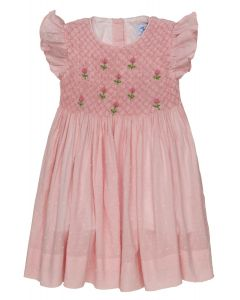 """Aurora Royal """" Tea Rose"""" Traditional Hand-Smocked Embroidered Dress. LIMITED"""