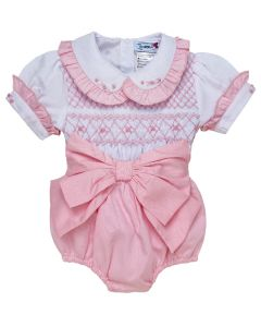 "Aurora Royal "" Valentina "" Baby Girls Pink 2 Piece Hand-Smocked Set.LIMITED"
