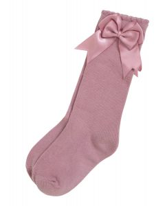 Aurora Royal Girls Knee Length Dusky Pink Bow Cotton Socks