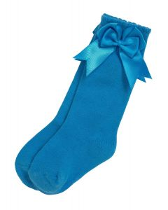 Aurora Royal Girls Knee Length Turquoise Cotton Bow  Socks