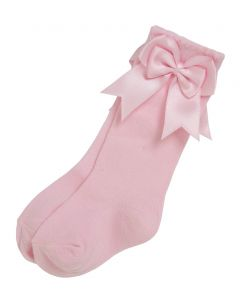 Aurora Royal Girls Knee Length  Pink Bow Cotton Socks