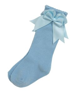 Aurora Royal Girls Knee Length Sky Blue Bow Cotton Socks