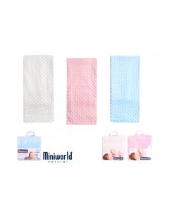 PACK OF 3 Soft Plush Baby Blankets. Ivory, Pink @ Blue.