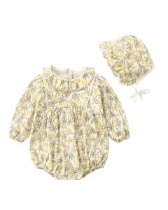 "Aurora Royal ""Wanda""  Cotton Jersey Romper & Bonnet Set"