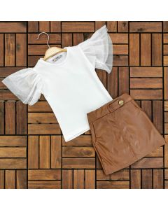 "Girls "" Iva"" Ivory Top & Faux Leather Skirt Set"