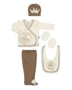 "Baby Boys "" Little Royals"" Beige Gift Set In Box. 5 Pcs. 0-3 Months"