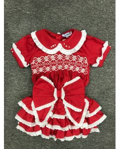 "Aurora Royal  Red  ""Betty""  2 Piece Hand-Smocked Set.LIMITED"