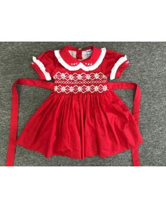 "Aurora Royal ""Elizabeth""  Red  Hand-Smocked Cotton Dress."