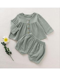 "Aurora Royal "" Nursery Time"" Sage Muslin Outfit"