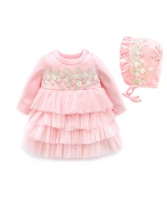 "Aurora Royal  ""Neva"" Pink Embroidered Dress & Bonnet"