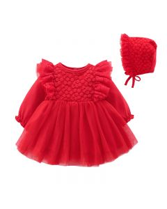 "Aurora Royal ""Fairy"" Red Lace Baby Dress&Bonnet"