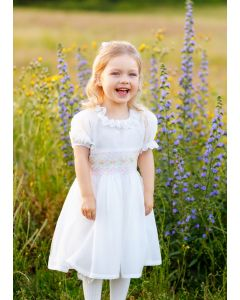 "Aurora Royal  ""Ophelia"" Ivory Crepe Hand Smocked Dress"