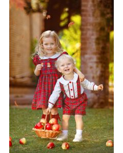 "Aurora Royal ""Blessing"" Red Tartan Embroidered Dress"
