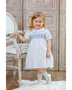 "Aurora Royal "" Victoria "" White & Blue Hand-Smocked Cotton Dress.LIMITED."