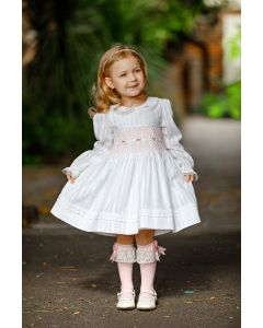 "Aurora Royal ""First Star"" White  Hand-Smocked Dress"