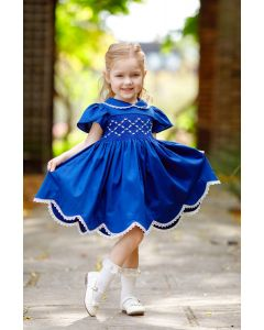"Aurora Royal  ""Almeria"" Navy Blue Hand Smocked Dress."