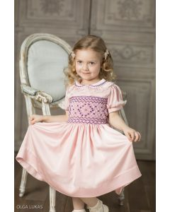 "Aurora Royal Silk/Satin ""Safisa"" Hand-Smocked Dress."