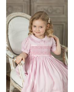 "Aurora Royal ""Marquise"" Hand-Smocked Pink Dress."