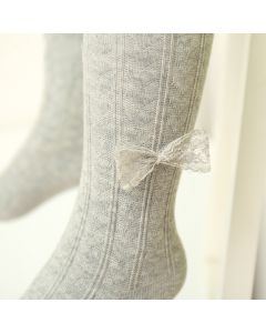 Grey Cotton Girls Tights