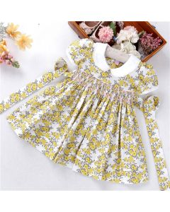 "Aurora Royal "" Amber Queen "" Hand Smocked Cotton Dress"