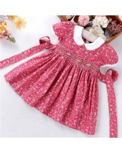 "Aurora Royal "" Camille "" Hand Smocked Cotton Dress"