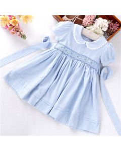 "Girls Pale Blue ""Erin"" Hand-Smocked Cotton/Linen Dress"