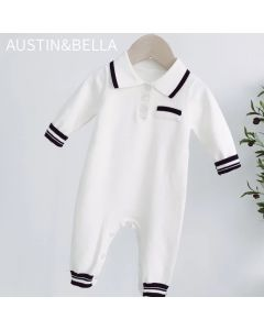 "PACK OF 3 White Cotton ""Luck"" Traditional Knitted Romper. SIZES: 6-9m,9-12m,12-18m"