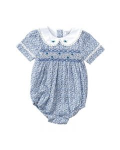 "PACK OF 5 ""Britannica"" Blue Hand-Smocked Rompers. SIZES N/B,3M,6M,9M,12M"