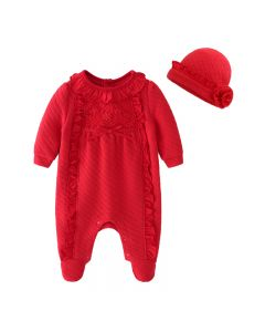 """Aurora Royal """"Paola"""" Red Quilted Babysuit & Hat Set"""