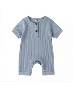"PACK OF 4 Blue ""Arman"" Baby Ribbed Cotton Playsuit. SIZES: 0-3M,3-6M,6-9M,9-12M"