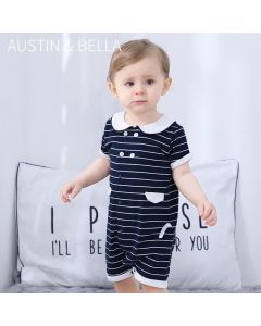 "PACK OF 4 ""Paul"" Navy Striped Cotton Playsuit. SIZES: 3-6M,6-9M,9-12M,12-18M"