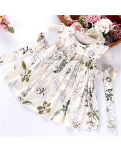 "Aurora Royal "" For You "" Cream Flower Print Hand Smocked Dress"