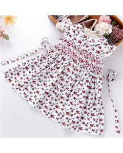 "Aurora Royal ""Sharon"" White Flower Print Hand Smocked Dress"
