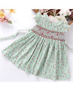 "Aurora Royal "" Melissa "" Pistachio Green Hand-Smocked Dress"