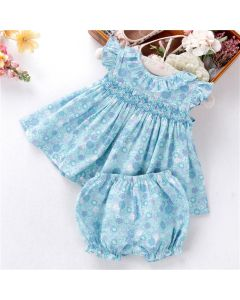 "Aurora Royal Baby Girls ""Bluebell"" Cotton Hand Smocked Set"