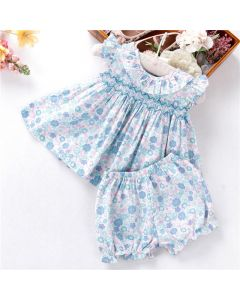 "Aurora Royal Baby Girls "" Lora "" Cotton Liberty Hand Smocked Set"