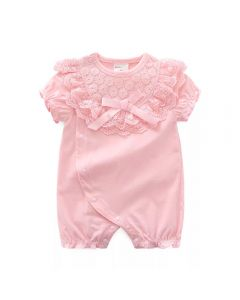 "PACK OF 4 ""Simonetta"" Pink Cotton Jersey Lace Babysuit. SIZES: 0-3M,3-6M,6-9M,9-12M"