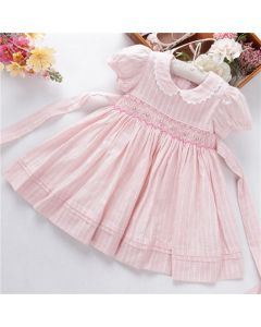 "Aurora Royal Girls  ""  Rosette "" Hand-Smocked Cotton Dress"