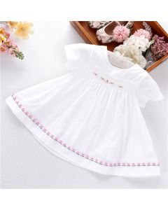 "Aurora Royal "" Angel Eye "" White Pure Cotton Hand Embroidered Dress"