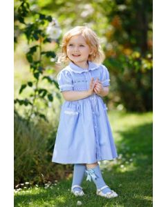 "Aurora Royal ""Alice"" Hand-Smocked Blue Dress"