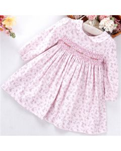 "Aurora Royal ""Becky"" Pink Corduroy Hand Smocked Dress"