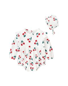 "Aurora Royal ""Cherry"" Pima Cotton Romper & Bonnet Set"
