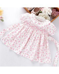 "Aurora Royal  "" Dalila "" White & Pink Hand-Smocked Cotton Dress"